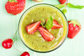 Kiwi Strawberry Smoothie In Glass Stock Images - 58746754