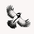 Sketch Flying Bird. Hand Drawn Vector Illustration . Eng Royalty Free Stock Photo - 58750035