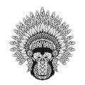 Hand Drawn Patterned Monkey In Zentangle Style With Feathered Wa Stock Photo - 58750620