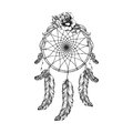 Dream Catcher With Feathers, Leafs And Rose  In Line Art Style Stock Photo - 58756510