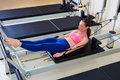Pilates Reformer Woman Hundred Exercise Royalty Free Stock Image - 58757046