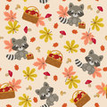 Raccoon Seamless Pattern Royalty Free Stock Photo - 58758025