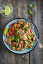 Whole Wheat Pasta  With Chicken And Vegetables Royalty Free Stock Photo - 58758915