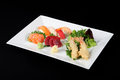 Menu Of Sushi, Sashimi And Fried With Vegetables Stock Image - 58759991