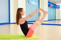 Pilates Woman Open Leg Rocker Exercise Workout Royalty Free Stock Photography - 58761187