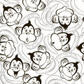 Seamless Pattern With Cute Faces Of Monkeys And Bananas. Kids Mo Stock Photos - 58768583