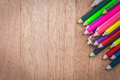 Stack Colour Pencils On Wooden Background Royalty Free Stock Photo - 58781745