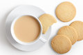 White Cup Of Tea And Saucer With Shortbread Biscuits From Above. Royalty Free Stock Photo - 58807065