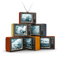 Stack Of Old TV Stock Photo - 58820360