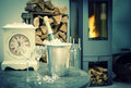 Home Interior Wirh Champagne, Fireplace And Vintage Clock Stock Photography - 58825132