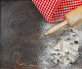 Flour, Rolling Pin And Cookie Cutters. Christmas Food Royalty Free Stock Photo - 58827035