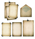 Old Paper Sheets And Envelope. Grungy Textured Cardboard. Scrapb Royalty Free Stock Photo - 58827565