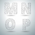 Vector Mesh Stylish Alphabet Letters M N O P Royalty Free Stock Photo - 58833375