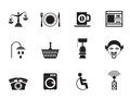 Silhouette Roadside, Hotel And Motel Services Icons Stock Photo - 58834620