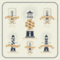 Vintage Nautical Lighthouse And Ribbon Labels Set Royalty Free Stock Photo - 58858065