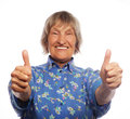 Old Woman Showing Ok Sign On A White Background Stock Photos - 58871963