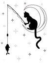Black Cat Sitting On The Moon And Catches A Fish Royalty Free Stock Photography - 58872337