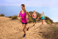 Leader Jogger Running Uphill Extreme Workout Fitness In Shape Weight Loss Exercise Team Row Modern Royalty Free Stock Image - 58874446