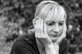 Side Monochrome Portrait Of A Frustrated Middle Aged Woman Royalty Free Stock Photo - 58887855