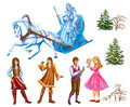 Set Cartoon Characters Gerda , Kai , Lappish Womanand Trees For Fairy Tale Snow Queen Written By Hans Christian Andersen Stock Photography - 58900342