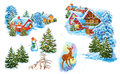 Set Cartoon Winter Landscape The House And Trees For Fairy Tale Snow Queen Written By Hans Christian Andersen Stock Image - 58900621