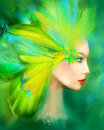 Fantasy Portrait Beautiful Woman Green Summer Spring Butterfly. Abstract Illustration Royalty Free Stock Photo - 58901635