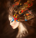 Fantasy Portrait Beautiful Woman Butterfly. Abstract Illustration Royalty Free Stock Photography - 58901807