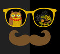 Retro Sunglasses With Reflection For Hipster. Royalty Free Stock Photo - 58943505