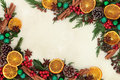 Christmas Fruit And Spice Border Stock Photography - 58966832
