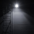 Fire Emergency Rescue Access Escape Ladder Stairway, Bright Lantern Royalty Free Stock Photo - 58992365