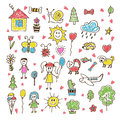 Doodle Children Drawing. Hand Drawn Set Of Drawings In Child Sty Royalty Free Stock Photography - 58998137