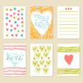 Romantic Hand Drawn Card Set. Collection Of Brochures, Posters, Stock Images - 58998204