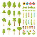 Set Of Flat Forest Elements. Include Mushrooms, Grass, Berries, Stock Image - 58998221
