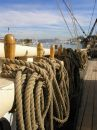 Wooden Sailboat Rail & Rigging Stock Photography - 593572