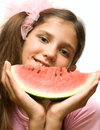 Girl Eat Watermelon Isolated On White Stock Photo - 5904560
