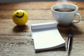 Open A Blank White Notebook, Pen And Cup Of Coffee Royalty Free Stock Photos - 59007478