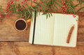 Open Blank Vintage Notebook And Wooden Pencil Next To Hot Cup Of Coffe Over Wooden Table. Ready For Mockup. Retro Filtered Image Stock Photo - 59009400