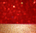 Abstract Background Of Red And Gold Glitter Bokeh Lights, Defocused Stock Photography - 59011122