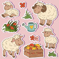 Farm Animals Set, Vector Stickers With Sheep Family Stock Image - 59013361