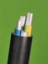 Medium Voltage 1kV Aluminum Sector Cable End With Stripped Conductors Stock Images - 59017414