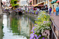 Beautiful Flower Pots Along The Canals In Annecy, France, Known Royalty Free Stock Image - 59022176