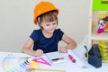 Little Girl Playing Builder Stock Photos - 59036093