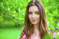 Russian Beauty - Young Brunette Girl At A White Birch Stock Image - 59037111