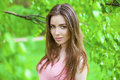 Russian Beauty - Young Brunette Girl At A White Birch Stock Photo - 59037630