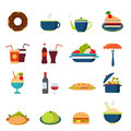 Flat Vector Food Icons: Menu, Drink, Restaurant, Burger, Bakery Royalty Free Stock Photography - 59050537