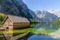 Beautiful Landscape Of Alpine Lake With Crystal Clear Green Water And Mountains In Background, Obersee, Germany Royalty Free Stock Images - 59056969