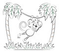Monkey Jumping On The Palm Royalty Free Stock Photo - 59071415