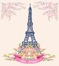 Love In Paris Nice Card - Vintage Floral Design Royalty Free Stock Photo - 59074555