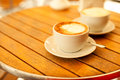 Two Cups With Cappuccino (hot Coffee With Milk) Stock Image - 59077151