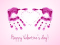 Happy Valentine S Day Card With Watercolor Prints Of Pink Palms. Royalty Free Stock Image - 59088096
